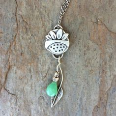Sterling Silver and Chrysoprase Flower by coldfeetjewelry on Etsy