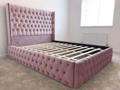 Blush Pink Studded Wingback Plush Velvet Bed Frame All Colours & Sizes Available Wingback Bed, Tufted Bed, Upholstered Beds, Velvet Bed Frame, Grey Velvet Bed, Quilted Bed Frame, Room Ideas Bedroom, Bedroom Decor, Pink Bedding