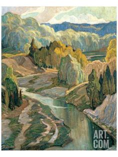 """Franklin Carmichael – was a Canadian artist. He was the youngest original member of the Group of Seven. """"The Valley"""" Tom Thomson, Emily Carr, Canadian Painters, Canadian Artists, Landscape Art, Landscape Paintings, Fantasy Landscape, Creative Landscape, Watercolor Landscape"""