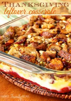 Leftover turkey and stuffing casserole. Heating up leftovers is such a pain, but this Thanksgiving Leftover Casserole is nice and easy and delicious and doesn't taste dried out. Thanksgiving Leftover Casserole, Thanksgiving Menu, Recipe For Thanksgiving Leftovers, Southern Thanksgiving Recipes, Southern Recipes, Stuffing Casserole, Stuffing Recipes, Casserole Recipes, Leftover Turkey Recipes