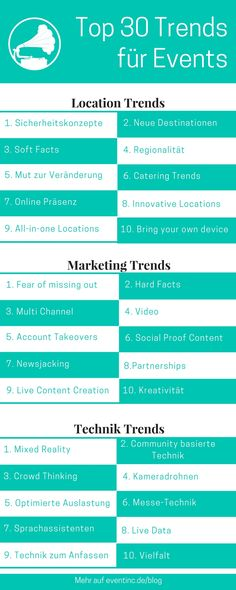 Die Top 30 Event Trends 2017: Mit diesen Trends sind Sie 2017 für die Eventbranche gewappnet #event #trends #trends2017 #2017 #eventbranche #eventmanagement #marketing #eventmarketing #technik #tech #location #eventlocation #micebranche #eventplanung #news #tipps #eventinc