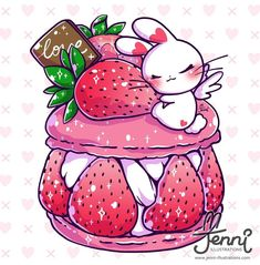 I like strawberry desserts do you? . . . #strawberry #dessert #foodart #macarons #bunnylover #jennilustrations