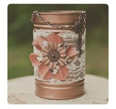 One steampunk look tin can vase. Wedding decor. Ivory lace. Steampunk wedding centerpiece. Copper decor