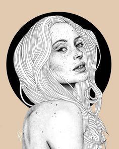 'Freckles' illustration by Rebecca Flattley @rebeccaflattleyart Australia. 'Веснушки' иллюстрация Ребекки Флаттли Австралия.  #иллюстрация #искусство #графика #холст #арт #art #illustration #pencil #drawing #draw #ink #oil #digitalart #mixedart #水彩画 #contemporaryart #sketchbook #graphic #timetoart