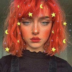 Harajuku Orange Short Curly Wig with Bangs - Trend Hair Makeup And Outfit 2019 Hairstyles With Bangs, Pretty Hairstyles, Haircuts, Hairstyles Videos, Everyday Hairstyles, Prom Hairstyles, Weave Hairstyles, Short Curly Wigs, Short Dyed Hair