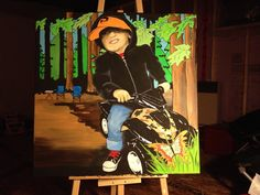 Painting of my son for his boy bedroom Mon fils sur son 4 roues pour sa chambre de gars ! Aquarium, Painting, Guy Rooms, 4 Wheelers, Sons, Goldfish Bowl, Fish Tank, Painting Art, Paintings