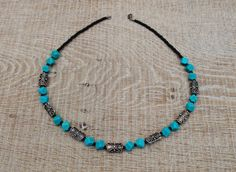 Turquoise and silver necklace. by BijoubeadsLondon £23.00