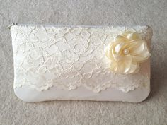 Items similar to ivory lace wedding clutch with flower and pearl center - for bridal shower, wedding, bride, mother of the bride, shower goft on Etsy Diy Lace Wedding Shoes, Wedding Dress Crafts, Wedding Clutch, Wedding Bags, Wedding Ideas, Wedding Bride, Lace Bag, Clutch Pattern, Diy Clutch
