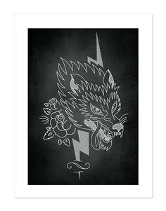 Wolf Tattoobular Line Design Series Neo-Traditional by BlackMast