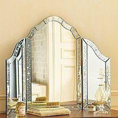 Tri Fold Vanity Mirror W/etched Border