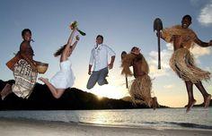 #Newlyweds jumping for joy at #NavutuStarsFiji #Fiji #beachwedding #happiness