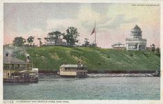 Grants Tomb. The other building you see in this postcard atop the bluff is the Claremont Inn, a country home that dated back to 1788. It had been acquired by the city after the Civil War and was run as a restaurant until its demolition in 1950. The ferry landings on the Hudson River below the tomb; in its earliest years, reaching the memorial via the river from downtown was the easiest way to go.