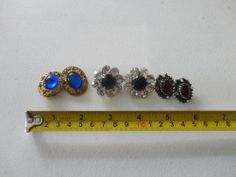 3 pairs of Clip on gemstone Earrings Vintage Fashion costume jewelry find me at www.dandeepop.com