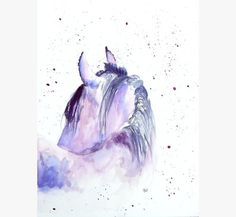 Horse Original watercolor, horse illustration abstract painting, blue lilac on Etsy, $23.00