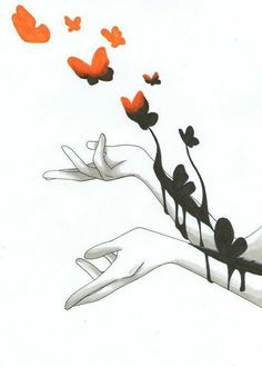 A fun image sharing community. Explore amazing art and photography and share your own visual inspiration! Anime Hand, Butterfly Project, Butterfly Art, Depression Art, Art Tumblr, Sad Art, Artsy Fartsy, Art Inspo, Artwork
