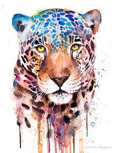 Jaguar panther watercolor painting print by Slaveika Aladjova art animal illustration home decor Nursery gift Wildlife wall art cat Jaguar Tier, Animal Drawings, Art Drawings, Animal Illustrations, Horse Drawings, Manga Illustration, Character Illustration, Drawing Art, Digital Illustration