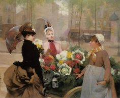 """The flower seller"" by Louis Marie de Schryver (1886)."