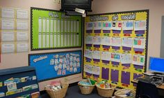 Love the student work display board being low!