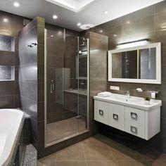Dark brown bathroom design with white sink