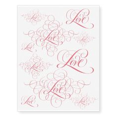 Pink Tattoo Love Calligraphy Lettering Valentine #valentinesday #tattoos