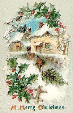 Vintage Christmas Card http://www.pinterest.com/nancy100nl/