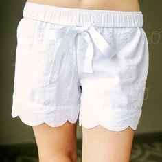 Seersucker Scallop Lounge Shorts - White