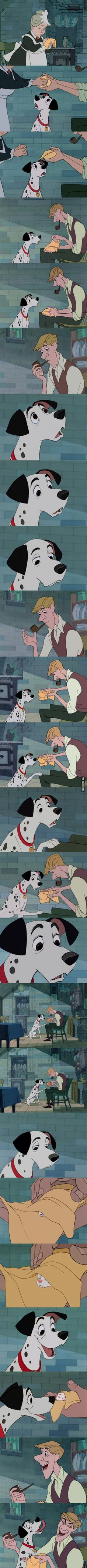 101 Dalmations, my favorite thing about this movie is the relationships between the human and canine family members.