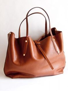 leather tote in chestnut
