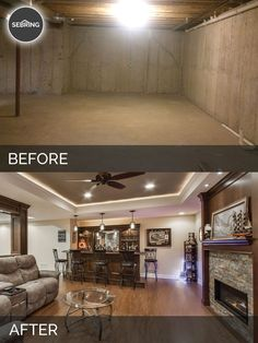 Basement Remodel Bolingbrook Before & After - Sebring Design Build