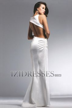 Sheath/Column Straps Elatic Woven Satin Prom Dress - IZIDRESSES.COM