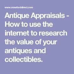 This page lists websites that will help you research the value of your antiques and collectibles. There are also links to antique appraisal websites. Antiques Value, Antiques Online, Selling Antiques, Selling On Ebay, Selling Online, Antique Shops, Antique Items, Vintage Items, Vintage Stuff