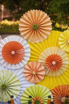Card stock paper uses. Large rosettes decorations, pinwheels, beads, birds...