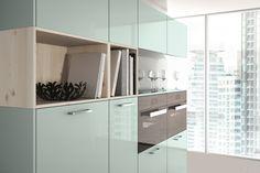 Hacker 2030 | 5083 Metallic ocean blue high gloss lacquer | White pine veneered #kitchen #inspiration #modern #contemporary #german #blue #ideas #stunning