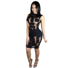 293d45d9 Women's Hollow Out Sleeveless Polyester and Spandex Dress. Club Outfits For  WomenParty ...