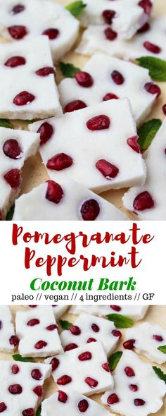 Four ingredients make this paleo & vegan Pomegranate Peppermint Coconut Bark, a perfect healthy treat for the holidays or a great homemade gift to give - Eat the Gains