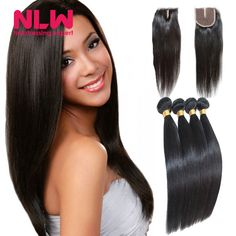"""Free Shipping 12 28"""" Cheap 8A Unproccessed 4X4 Lace Frontal Closure With 4 bundles Peruvian Virgin Human Hair Silk Straight Weft-in Human Hair Weft with Closure from Health & Beauty"""