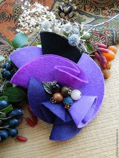 """Brooch """"Berry mix"""" - Unfortunately, this work sold or removed master. Brooches Handmade, Handmade Flowers, Handmade Crafts, Diy And Crafts, Fabric Brooch, Felt Brooch, Felt Fabric, Yarn Flowers, Paper Flowers"""