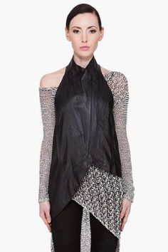 Helmut Lang - Slouchy leather vest. Of course this looks fantastic, perfect even, with Lang's knit dress (shown) -- but this is a much more versatile piece than one would guess from first glance. So tough, but so tender, too.