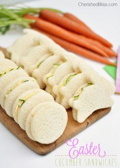 Enjoy these fun Easter Cucumbers Sandwiches at your next Spring Party, they are sure to be a hit!