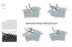 Los símbolos de patrones de tejido en dos agujas o palillos  se usan en los diagramas para indicar el motivo de un tejido determinado,...