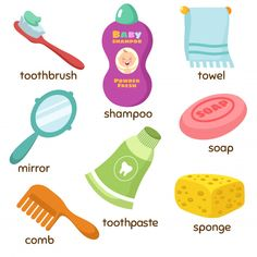 Find Cartoon Bathroom Accessories Vocabulary Vector Icons stock images in HD and millions of other royalty-free stock photos, illustrations and vectors in the Shutterstock collection. Learning English For Kids, English Worksheets For Kids, English Lessons For Kids, English Language Learning, Toddler Learning, English Vocabulary Words, Learn English Words, Flashcards For Kids, Preschool Learning Activities