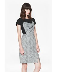 French Connection | Black Powdered Pepper Structured Dress | Lyst