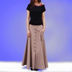 No.6 maxi skirt - less is more line(Q1019). $45.00, via Etsy.