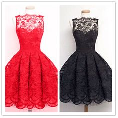 Pretty lace short prom dresses,A-line black lace homecoming dress,red dress,fashion dress for girls - Thumbnail 3