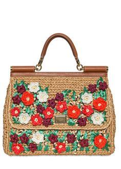 Dolce & Gabbana Miss Sicily Crochet Raffia Top Handle in Multicolor (multi) - Lyst