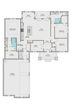 Craftsman Style House Plan - 3 Beds 2.5 Baths 1891 Sq/Ft Plan #461-43 Floor Plan - Main Floor Plan - Houseplans.com