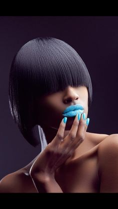 fierce blue lips and tips! Blue Lipstick, Quality Wigs, Beauty Shots, Beauty Tips, African American Hairstyles, Blue Makeup, Relaxed Hair, Brown Skin, Dark Skin