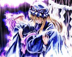 願はくは 花の下にて 春死なむ その如月の 望月のころ | さきの新月  Yuyuko Saigyouji Yukari Yakumo Youyoumu Touhouu 西行寺幽々子 八雲紫 妖々夢 東方