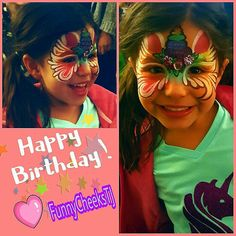 Funny Cheeks Face Painting  Unicorn mask design by FunnyCheeksTJ  Birthday Party Fun Dallas Face Painter