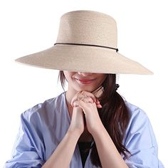 7347b04a966 HDE Women s Sun Hat  UPF 50+  Floppy Wide Brim Derby Visor Summer Beach Cap  (Beige) at Amazon Women s Clothing store